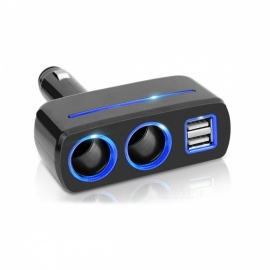 Car Cigarette Lighter Power Socket, Splitter Power Adapter - Black