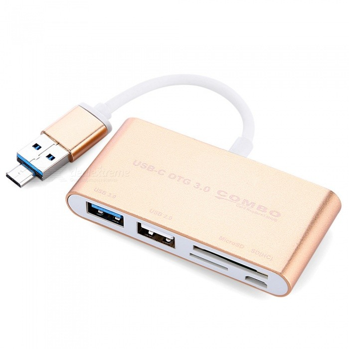 KELIMA USB OTG Card Reader + 3.0 HUB Multi-function Combo - GoldenUSB Gadgets<br>Form  ColorGoldenModelT-686Quantity1 DX.PCM.Model.AttributeModel.UnitMaterialAluminum alloyInterfaceUSB 3.0Powered ByUSBSupports SystemOthers,windows 98/SE/ME/2000/XP/2003/2008/VISTA/7/8/Mac/AndroidOther Features1. Support USB3.0 / 2.0 and Micro USB interface with OTG mobile phone, external USB device and SD / TF memory card, the product is suitable for MicroUSB interface OTG function of the Andrews phone, models are millet / Huawei / Sony / Meizu / Samsung and so on.<br>2. Product SD / TF dual card slot design, support for computers and smart phones directly read large capacity SD (HC) MMC / TF memory card.Packing List1 x Card reader<br>