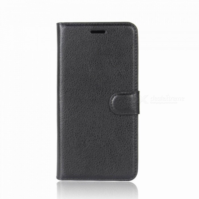 Lychee Pattern Flip-Open PU Case for IPHONE X - BlackLeather Cases<br>Form  ColorBlackModelN/AQuantity1 pieceMaterialPUCompatible ModelsOthers,IPHONE XStyleFlip OpenDesignSolid Color,Card Slot,With StrapAuto Wake-up / SleepNoPacking List1 x Case<br>