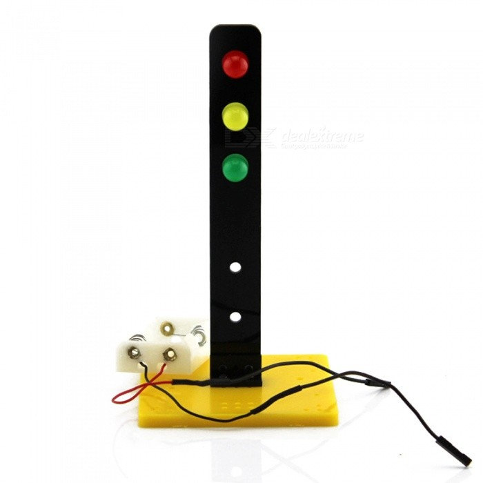 DIY Hand Assembled Traffic Signal Light Model Puzzle ToyEducational Toys<br>Form  ColorBlack + Yellow + Multi-ColoredMaterialPlasticQuantity1 DX.PCM.Model.AttributeModel.UnitSuitable Age 8-11 years,12-15 years,Grown upsPacking List1 x Traffic light kit toy<br>