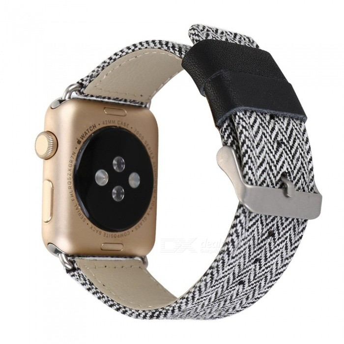 Miimall Denim-kangas ja nahkavyö Watch Band for Apple Watch 38mm