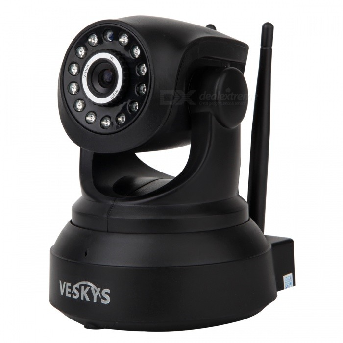 VESKYS 720P Wi-Fi Security P2P IP Camera/Two-way Audio/TF - EU PlugIP Cameras<br>Form  ColorBlackPower AdapterEU PlugModelN/AMaterialABSQuantity1 pieceImage SensorCMOSImage Sensor SizeOthers,1/4inchPixels1.0MPLens3.6mmViewing Angle90 °Video Compressed FormatH.264Picture Resolution720P (1080 x 720) / VGA (640 x 360) / QVGA (320 x 180)Frame Rate25FPSInput/OutputBuilt-in microphone / AudioAudio Compression FormatOthers,ADPCMMinimum Illumination0.3 LuxNight VisionYesIR-LED Quantity13Night Vision Distance10 mWireless / WiFi802.11 b / g / nNetwork ProtocolTCP,IP,UDPSupported SystemsWindows 2000,2003,XP,VistaSupported BrowserOthersSIM Card SlotNoOnline Visitor4IP ModeDynamicMobile Phone PlatformAndroid,iOSPTZ memoryChargeFree DDNSYesIR-CUTYesBuilt-in Memory / RAMNoLocal MemoryYESMemory CardTFMax. Memory Supported64GMotorYesRotation AngleHorizontal: 300 degree / Vertical: 90 degreeSupported LanguagesEnglish,Simplified ChineseWater-proofNoRate Voltage5Intercom FunctionYesPacking List1 x Camera1 x USB Cable (110cm)1 x EU Plug power adapter (110~240V)1 x Bracket 1 x Pack of installation accessories1 x English user manual<br>