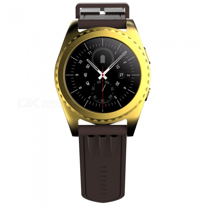 Eastor GS3 Bluetooth Smart Watch with Heart Rate Monitor - GoldenSmart Watches<br>Form  ColorGoldenModelGS3Quantity1 DX.PCM.Model.AttributeModel.UnitMaterialMetal + TPUShade Of ColorGoldCPU ProcessorMTK2502CScreen Size1.2 DX.PCM.Model.AttributeModel.UnitScreen Resolution240*240Touch Screen TypeIPSBluetooth VersionBluetooth V4.0Compatible OSAndroid, IOSLanguageEnglish, French, Japanese, Italian, Russian, Indonesian, Hebrew, Turkish, German, Arabic, Spanish, Polish, Portuguese, KoreanWristband Length22 DX.PCM.Model.AttributeModel.UnitWater-proofOthers,Life WaterproofBattery ModeReplacementBattery TypeLi-ion batteryBattery Capacity380 DX.PCM.Model.AttributeModel.UnitStandby Time5-7 DX.PCM.Model.AttributeModel.UnitPacking List1 x Smart Watch1 x Charging Cable1 x Manual<br>