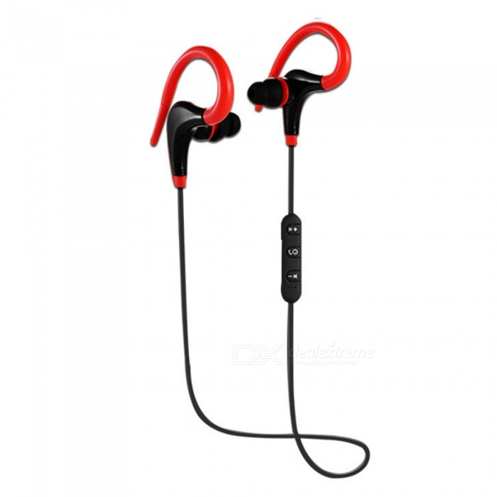 ZHAOAYAO Sports Bluetooth Waterproof Earhook Earphone - RedHeadphones<br>Form  ColorBlack + RedBrandOthers,ZHAOYAOMaterialABSQuantity1 DX.PCM.Model.AttributeModel.UnitConnectionBluetoothBluetooth VersionBluetooth V4.1Bluetooth ChipX6Operating Range7-10mHeadphone StyleEarbudWaterproof LevelIPX4Applicable ProductsUniversalHeadphone FeaturesEnglish Voice Prompts,Long Time Standby,Volume Control,With Microphone,Lightweight,For Sports &amp; ExerciseSupport Memory CardNoSupport Apt-XYesFrequency Response20-20.000HZBuilt-in Battery Capacity 60 DX.PCM.Model.AttributeModel.UnitStandby Time180 DX.PCM.Model.AttributeModel.UnitTalk Time4-6 DX.PCM.Model.AttributeModel.UnitMusic Play Time4-6 DX.PCM.Model.AttributeModel.UnitPacking List1 x Sports headset1 x Charging line1 x Earmuffs1 x Instructions<br>