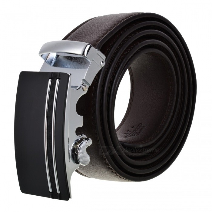 Parallel Line Pattern Mens Automatic Buckle Belt - Silver, BrownBelts and Buckles<br>Form  ColorSilver + BrownQuantity1 DX.PCM.Model.AttributeModel.UnitShade Of ColorSilverMaterialCowhideGenderMenSuitable forAdultsBelt Length120 DX.PCM.Model.AttributeModel.UnitBelt Width3.5 DX.PCM.Model.AttributeModel.UnitPacking List1 x Belt<br>
