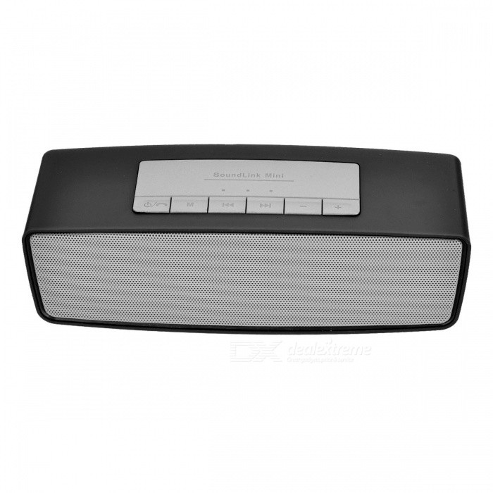 S815 Portable Wireless Bluetooth Speaker for Home Use - BlackBluetooth Speakers<br>Form  ColorBlackModelS815MaterialPlastic + alloyQuantity1 DX.PCM.Model.AttributeModel.UnitShade Of ColorBlackBluetooth HandsfreeYesBluetooth ChipCSR 3.0Bluetooth VersionBluetooth V3.0Operating Range10MTotal Power3 DX.PCM.Model.AttributeModel.UnitChannels2.0Interface3.5mm,USB 2.0MicrophoneYesSNR70dbImpedance4 DX.PCM.Model.AttributeModel.UnitApplicable ProductsIPHONE 5,IPHONE 4,IPHONE 4S,IPHONE 3G,IPHONE 3GS,UniversalRadio TunerYesSupports Card TypeSD,MicroSD (TF)Max Extended Capacity32GBBuilt-in Battery Capacity 400 DX.PCM.Model.AttributeModel.UnitTalk Time3 DX.PCM.Model.AttributeModel.UnitStandby Time10 DX.PCM.Model.AttributeModel.UnitMusic Play Time5 DX.PCM.Model.AttributeModel.UnitPacking List1 x Wireless bluetooth speaker1 x Cable<br>