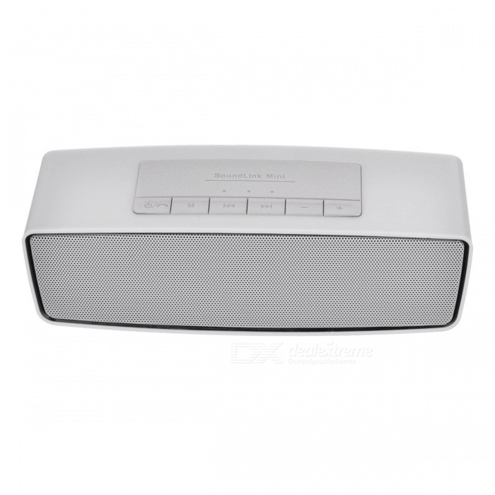 S815 Portable Wireless Bluetooth Speaker for Home Use - GreyBluetooth Speakers<br>Form  ColorGreyModelS815MaterialPlastic + alloyQuantity1 DX.PCM.Model.AttributeModel.UnitShade Of ColorGrayBluetooth HandsfreeYesBluetooth ChipCSR 3.0Bluetooth VersionBluetooth V3.0Operating Range10MTotal Power3 DX.PCM.Model.AttributeModel.UnitChannels2.0Interface3.5mm,USB 2.0MicrophoneYesSNR70dbImpedance4 DX.PCM.Model.AttributeModel.UnitApplicable ProductsIPHONE 5,IPHONE 4,IPHONE 4S,IPHONE 3G,IPHONE 3GS,UniversalRadio TunerYesSupports Card TypeSD,MicroSD (TF)Max Extended Capacity32GBBuilt-in Battery Capacity 400 DX.PCM.Model.AttributeModel.UnitTalk Time3 DX.PCM.Model.AttributeModel.UnitStandby Time10 DX.PCM.Model.AttributeModel.UnitMusic Play Time5 DX.PCM.Model.AttributeModel.UnitPacking List1 x Wireless bluetooth speaker1 x Cable<br>