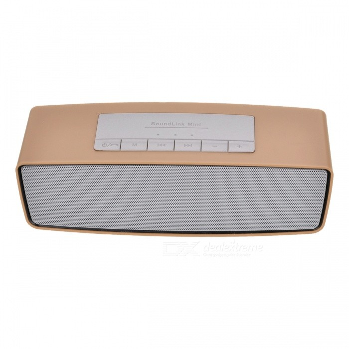 S815 Portable Wireless Bluetooth Speaker for Home Use - GoldenBluetooth Speakers<br>Form  ColorGoldenModelS815MaterialPlastic + alloyQuantity1 DX.PCM.Model.AttributeModel.UnitShade Of ColorGoldBluetooth HandsfreeYesBluetooth ChipCSR 3.0Bluetooth VersionBluetooth V3.0Operating Range10MTotal Power3 DX.PCM.Model.AttributeModel.UnitChannels2.0Interface3.5mm,USB 2.0MicrophoneYesSNR70dbImpedance4 DX.PCM.Model.AttributeModel.UnitApplicable ProductsIPHONE 5,IPHONE 4,IPHONE 4S,IPHONE 3G,IPHONE 3GS,UniversalRadio TunerYesSupports Card TypeSD,MicroSD (TF)Max Extended Capacity32GBBuilt-in Battery Capacity 400 DX.PCM.Model.AttributeModel.UnitTalk Time3 DX.PCM.Model.AttributeModel.UnitStandby Time10 DX.PCM.Model.AttributeModel.UnitMusic Play Time5 DX.PCM.Model.AttributeModel.UnitPacking List1 x Wireless bluetooth speaker1 x Cable<br>