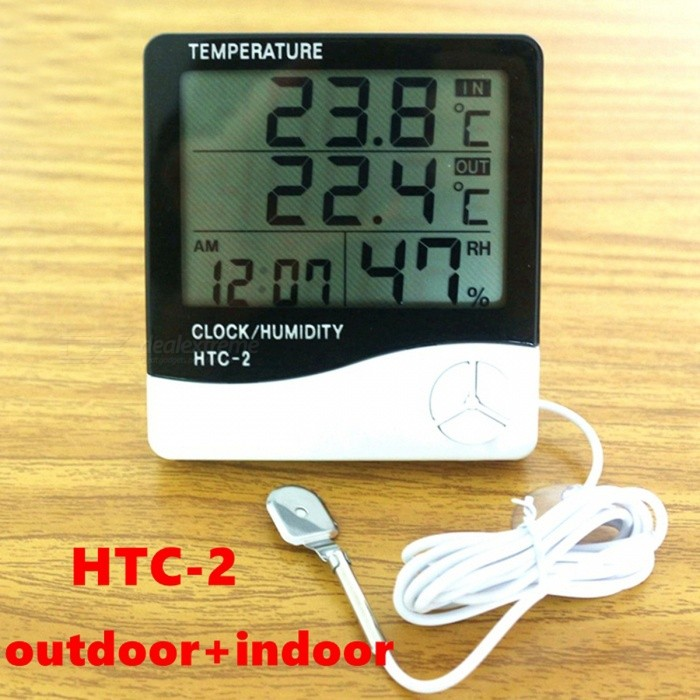 HTC-2 Weather Station Digital LCD Temperature Humidity Meter - BlackTemperature Instruments<br>Form  ColorWhiteModelHTC-2Quantity1 DX.PCM.Model.AttributeModel.UnitMaterialPlasticScreen Size4 DX.PCM.Model.AttributeModel.UnitCelsius Range-Fahrenheit Range-50~+70 DX.PCM.Model.AttributeModel.UnitBacklightNoAuto Power OffNoPowered ByAAA BatteryBattery Number1Battery included or notNoPacking List1 x Temperature &amp; Humidity Meter with probe1 x English Manual<br>