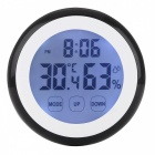 Backlit Digital LCD Thermometer Hygrometer - Black