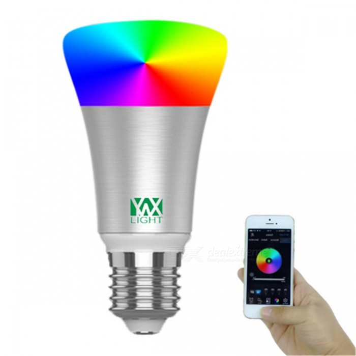 YWXLight E27 RGB Smart Bluetooth Music LED Bulb Light - SilverSmart Lighting<br>Color BINSilverMaterialAluminumForm  ColorWhite + Orange + Multi-ColoredQuantity1 piecePower5WRated VoltageOthers,110-240 VConnector TypeE27Emitter TypeCOBTotal Emitters1Theoretical Lumens500-600 lumensActual Lumens400-500 lumensColor Temperature12000K,Others,N/ADimmableYesBeam Angle360 °Packing List1 x YWXLight LED Bluetooth bulb<br>