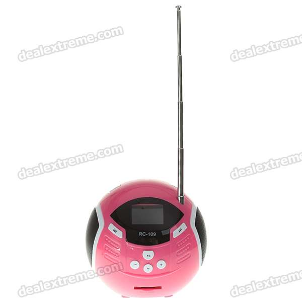 "Portable 1.4"" OLED LCD USB Rechargeable SD/MMC MP3 Player Speaker with FM Radio (Pink)"