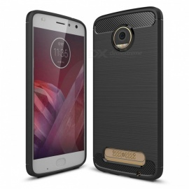 Dayspirit Wire Drawing Carbon Fiber TPU Case for Moto Z2 Play - Red