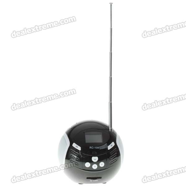 "Portable 1.4"" OLED LCD USB Rechargeable SD/MMC MP3 Player Speaker with FM Radio (Black)"