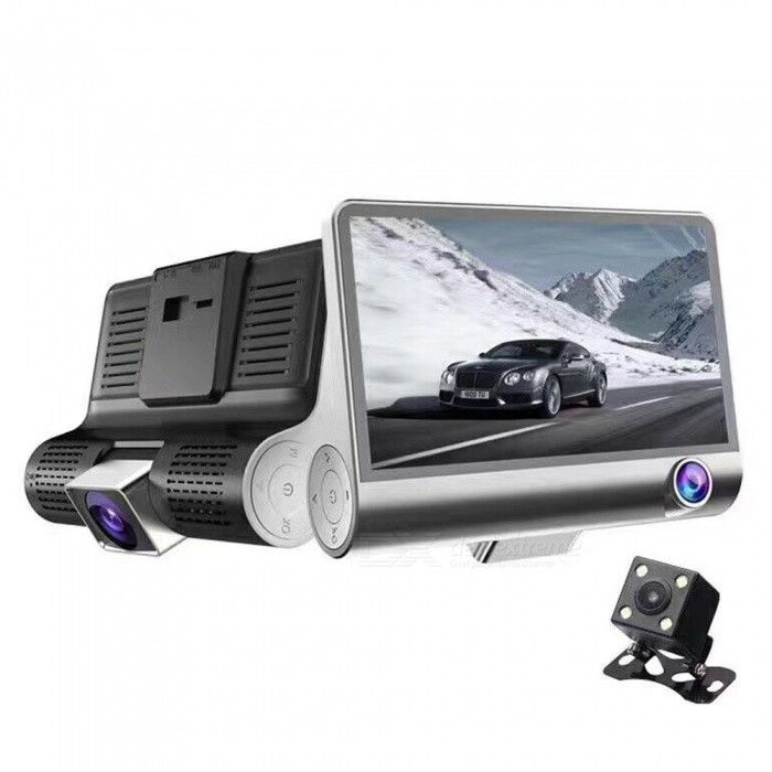 KELIMA 4 HD Wide-Angle Car Driving Recorder DVR with 3 LensCar DVRs<br>Form  ColorSilver BlackModelN/AQuantity1 pieceMaterialABSChipsetOthers,Julie2248Screen Size4-4.9Other FeaturesMotion Detection,After Camera,Loop RecordScreen Resolution:Others,1680*960 dpiCamera Pixel0.3-0.9MP pixelsVideo ResolutionOthers,1680*960 pixelsWide Angle170°-189°Camera Lens3Image SensorCMOSImage Sensor Size1/2.7 inchesCamera Pixel1.3MPExternal Camera Pixel1.3MPWide AngleOthers,170 DegreeOptical ZoomNoScreen TypeTFTScreen SizeOthers,4ISO100Exposure CompensationOthers,-3-2-1.0 1 2 3Video FormatAVIDecode FormatH.264Video OutputPAL,NTSCVideo ResolutionVGA(640 x 480),Others,1680*960Video Frame Rate30ImagesJPGStill Image ResolutionOthers,3MMicrophoneYesMotion DetectionYesAuto-Power OnYesLED Qty4IR Night VisionNoG-sensorNoLoop RecordOthers,1 2 3Delay ShutdownYesTime StampYesBuilt-in Memory / RAMNoMax. Capacity32GBStorage ExpansionTFAV Interface3.5mm JackData interfaceMini USBWorking Voltage   5 VBattery Capacity320 mAhWorking Time10 hoursMenu LanguageEnglish,Chinese Simplified,Chinese TraditionalPacking List1 x DVR1 x Car charger (line length: 300cm)1 x Four LED rear camera with line (line length 600cm)1 x Stand 1 x Manual<br>
