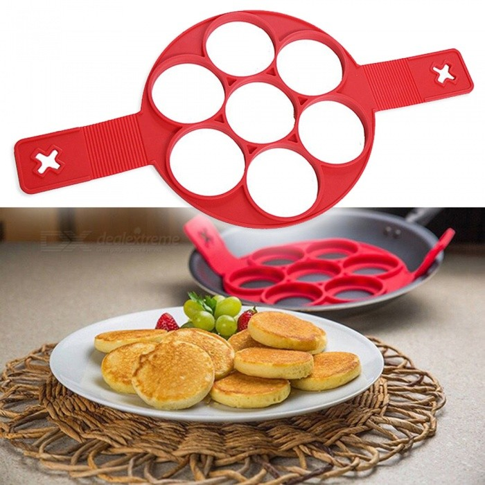 P-TOP Non-Stick Silicone 7-Hole Pancakes Making Egg Ring Mold - Red