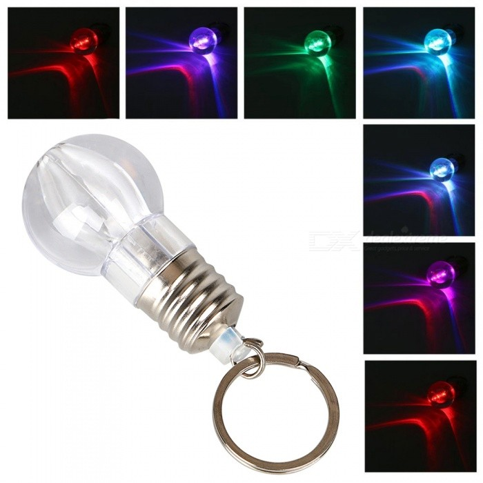 Creative Mini Colorful LED Light Bulb Style Keychain (3 x AG3)Keychains<br>Form  ColorTransparent + SilverMaterialPolystyreneQuantity1 setPacking List1 x Bulb keychain<br>