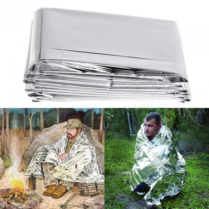 210 x 140cm Outdoor Camping Emergency Reflective Waterproof BlanketFirst Aid<br>Form  ColorWhite SilverQuantity1 DX.PCM.Model.AttributeModel.UnitMaterialPET film + coatingBest UseFamily &amp; car camping,CampingPacking List1 x Emergency blanket<br>