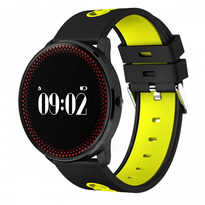 CF007 Round Dial Smart Bracelet with Heart Rate Monitor - YellowSmart Bracelets<br>Form  ColorBlack + YellowModelCF007Quantity1 pieceMaterialPlastic + glassShade Of ColorBlackWater-proofOthers,Conventional waterproofBluetooth VersionBluetooth V4.0Touch Screen TypeYesOperating SystemNoCompatible OSAndroid 4.0 and aboveI SO7.0 and aboveBattery Capacity80 mAhBattery TypeLi-polymer batteryStandby Time7 daysPacking List1 x Bracelet1 x Charging clip data line1 x Specification<br>