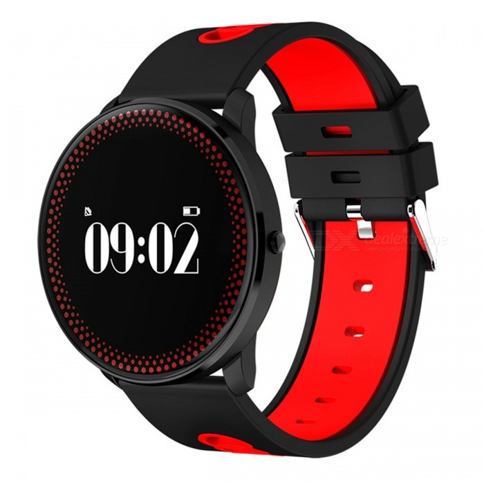 CF007 Round Dial Smart Bracelet with Heart Rate Monitor - RedSmart Bracelets<br>Form  ColorBlack + RedModelCF007Quantity1 DX.PCM.Model.AttributeModel.UnitMaterialPlastic + glassShade Of ColorBlackWater-proofOthers,Conventional waterproofBluetooth VersionBluetooth V4.0Touch Screen TypeYesOperating SystemNoCompatible OSAndroid 4.0 and above ISO7.0 and aboveBattery Capacity80 DX.PCM.Model.AttributeModel.UnitBattery TypeLi-polymer batteryStandby Time7 DX.PCM.Model.AttributeModel.UnitPacking List1 x Bracelet1 x Charging clip data line1 x Specification<br>