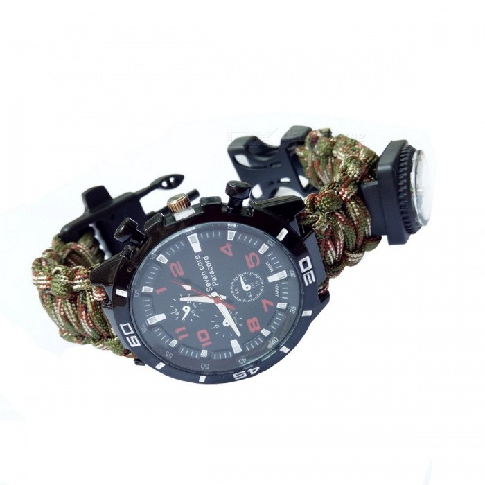 Outdoor Multi-functional Seven-core Survival Paracord Watch w/ CompassCompasses<br>Form  ColorArmy Green CamouflageQuantity1 DX.PCM.Model.AttributeModel.UnitMaterialNylonAnalog or DigitalAnalogBattery TypeCR2032 batteryBattery Number1Battery included or notYesRulerYesWaterproofYesLanyardNoBest UseFamily &amp; car camping,Camping,TravelPacking List1 x Compass Watch<br>