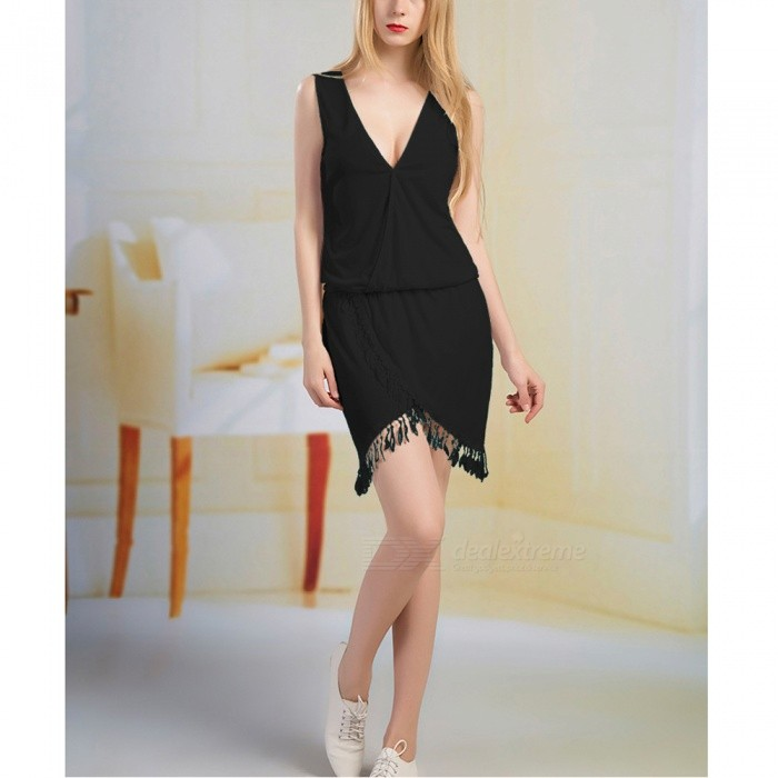 2017 New Ladies Sexy V Collar Tassel Lace Dress - Black / LDresses<br>Form  ColorBlackSizeLQuantity1 pieceShade Of ColorBlackMaterialCotton blendsStyleFashionChest Girth88 cmWaist Girth70 cmHip Girth94 cmTotal Length94 cmSuitable for Height150-175 cmPacking List1 x Dress<br>