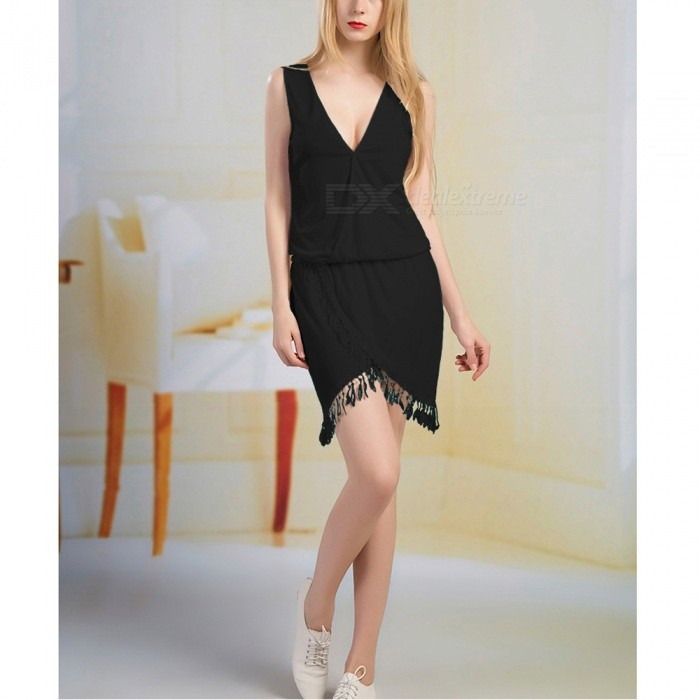 2017 New Ladies Sexy V Collar Tassel Lace Dress - Black / MDresses<br>Form  ColorBlackSizeMQuantity1 pieceShade Of ColorBlackMaterialCotton blendsStyleFashionChest Girth84 cmWaist Girth66 cmHip Girth90 cmTotal Length93 cmSuitable for Height150-175 cmPacking List1 x Dress<br>