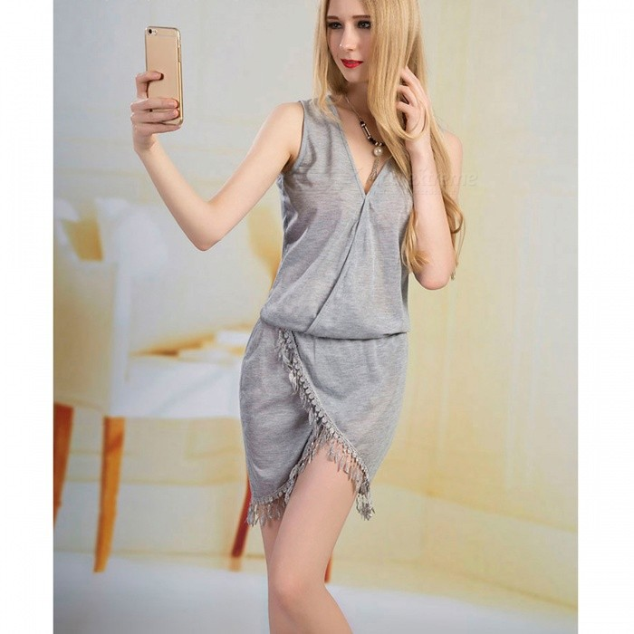 2017 New Ladies Sexy V Collar Tassel Lace Dress - Gray / SDresses<br>Form  ColorGreySizeSQuantity1 pieceShade Of ColorGrayMaterialCotton blendsStyleFashionChest Girth80 cmWaist Girth62 cmHip Girth86 cmTotal Length92 cmSuitable for Height150-175 cmPacking List1 x Dress<br>