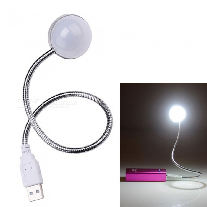 Creative Portable Energy-Saving USB Hemisphere Night Light - WhiteUSB Lights<br>Form  ColorWhiteQuantity1 DX.PCM.Model.AttributeModel.UnitMaterialPVC + metalShade Of ColorWhiteLED QtyOthers,.Powered ByUSBPacking List1 x USB light (with hose)<br>