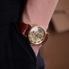 Stainless Steel Manual-Winding Semi-Automatic Mechanical Wristwatch (Brown + Golden)