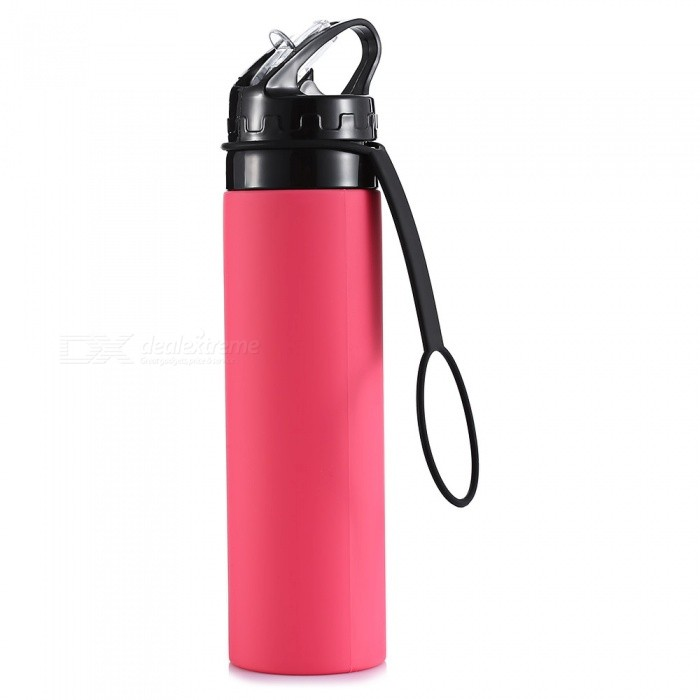 Outdoor Portable Anti-Drop 600ML Silicone Water Bottle - Red