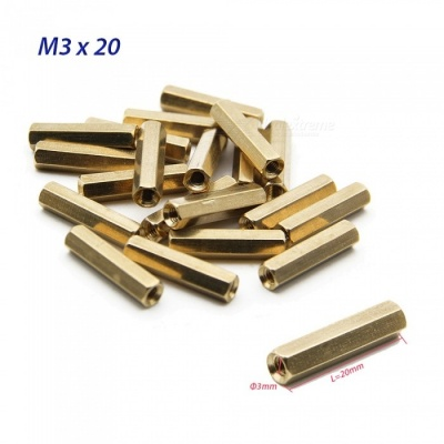 Geekworm 20Pcs/Lot M3x20 20mm Hex Brass Spacer Kits for Raspberry Pi