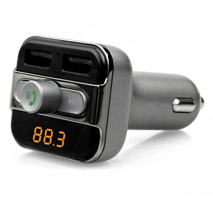 BT20 Dual USB Handsfree Bluetooth Car MP3 Player - Black GreyFM Transmitters and Players<br>Form  ColorBlack GreyModelBT20Quantity1 DX.PCM.Model.AttributeModel.UnitMaterialABSShade Of ColorBlackScreen Size1.2 DX.PCM.Model.AttributeModel.UnitScreen Resolution0Function1) This product is a Bluetooth version, Bluetooth hands-free phone, dual USB port charge, to meet the car more electronic equipment at the same time charging.<br><br>2) use the TF card / U disk storage to play songs, power can be played directly; (which only USB1 USB disk to support the U disk play / charge port, USB2 only as a charging port)<br><br>3) support MP3, WMA music file format<br><br>4) The player has the track automatic memory function, which allows you to remove the device after the power off, re-play from the beginning to hear the distress, the player will remember to the power is playing the track, the next play will automatically From this start.Supported LanguagesOthersPower Off Memory Function YesFM Frequency Range87.6-107.9MHZFM Transmit Distance10 DX.PCM.Model.AttributeModel.UnitAudio FormatsMP3,WMAFile FormatJPEGAudio ModeNatural,RockRemote ControlNoRemote-controlled Distance 0 DX.PCM.Model.AttributeModel.UnitInterface/PortUSB 2.0Storage InterfaceTFBuilt-in Flash Memory0External Memory Max. Support32 DX.PCM.Model.AttributeModel.UnitPower Supply12~24 DX.PCM.Model.AttributeModel.UnitPacking List1 x BT20 Car Bluetooth1 x Manual<br>
