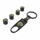 MZ Camouflage Car Wheel Tire Valve Stem Caps with Black Keychain Set