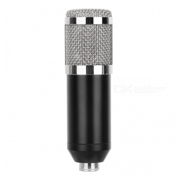JEDX BM800 Professional Condenser Sound Microphone w/ Anti-Shock MountMicrophones<br>Form  ColorBlack + SilverModelBM-800Quantity1 pieceShade Of ColorBlackMaterialABSInterface3.5mmPowered ByPower FreeMicrophone Frequency Response20Hz~20KHzSensitivity45dB+1dBMic Polar PatternsUnidirectionalImpedance16 ohmOther FeaturesType: Wired; <br>Connection: 3.5mm; <br>Polar Pattern: Uni-directional; <br>Frequency Range: 20Hz~20KHz; <br>Impedance: 16ohm; <br>Cable Length: Approx. 2.5m; <br>Mainly Compatible with: Linux, Mac OS, Windows 2000, Windows 7, Windows 98, Windows 98SE, Windows ME, Windows Vista, Windows XPPacking List1 x BM-800 Condenser sound recording microphone1 x Plastic anti-shock mount Kit1 x Anti-wind foam cap1 x Audio connect cable1 x English manual<br>