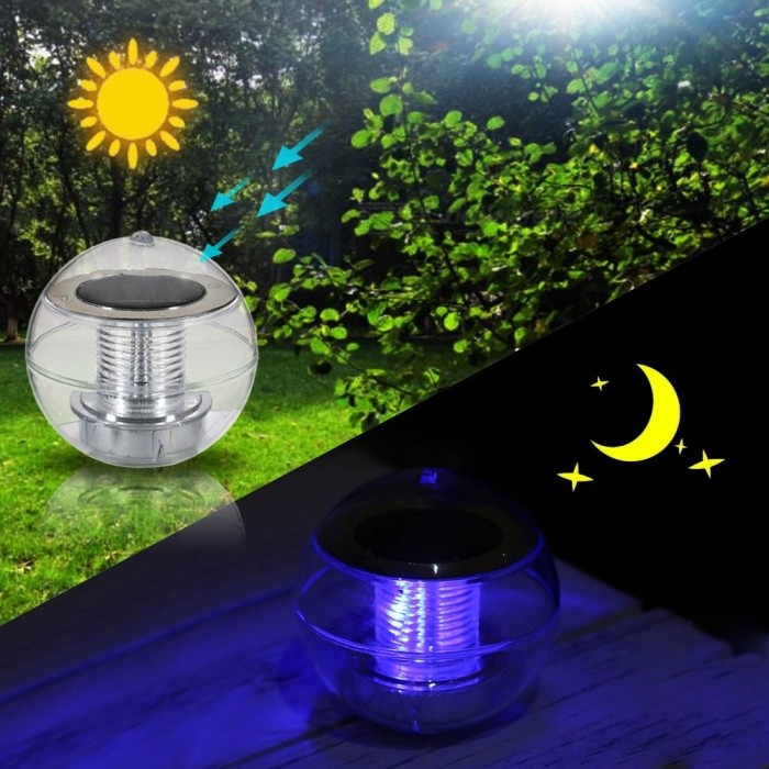 Outdoor Solar Powered Ip65 Led Floating Ball Lamp Color