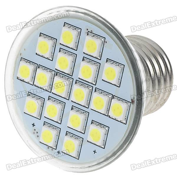 E27 3W 18-SMD 5050 LED White Light Bulb (220V) zweihnder e27 15w 1200lm 86 smd 5050 led white light bulb 220 240v