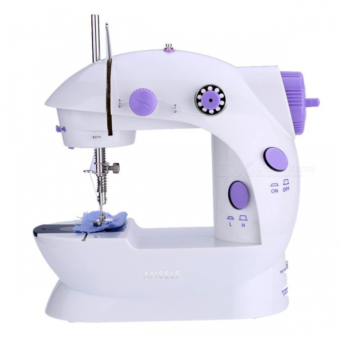 Mini Household Electric Sewing Machine with 2 Speed Adjustment -PurpleLifestyle Gadgets<br>Form  ColorWhite + PurpleMaterialMetalQuantity1 DX.PCM.Model.AttributeModel.UnitPacking List1 x Sewing Machine1 x Foot Pedal1 x Power Adapter1 x Bag of Accessories1 x Sewing Machine Table1 x User Manual (English)<br>