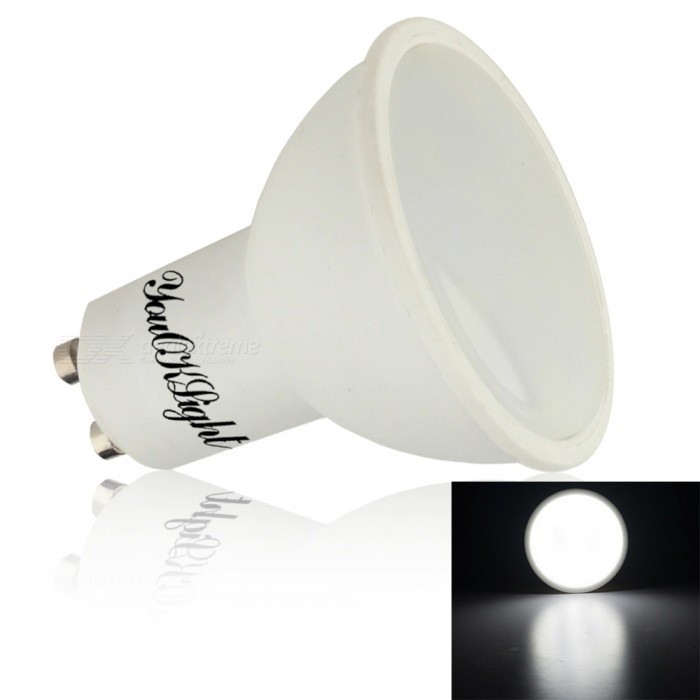 YouOKLight GU10 5W 400lm Cold White LED Light Bulb, AC 85-265VGU10<br>Color BINCold White LightModelYK4210-W-1MaterialPlasticForm  ColorWhiteQuantity1 DX.PCM.Model.AttributeModel.UnitPower5WRated VoltageAC 85-265 DX.PCM.Model.AttributeModel.UnitConnector TypeGU10Theoretical Lumens500 DX.PCM.Model.AttributeModel.UnitActual Lumens400 DX.PCM.Model.AttributeModel.UnitEmitter TypeOthers,5730 SMD LEDTotal Emitters10Color Temperature6000KDimmableNoBeam Angle60 DX.PCM.Model.AttributeModel.UnitPacking List1 x LED Spotlight<br>