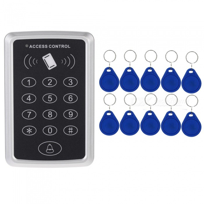 125kHz Proximity RFID Access Control System Keypad with 10Pcs ID CardsOther Security Products<br>Form  ColorBlack + SilverModelN/AMaterialABSQuantity1 DX.PCM.Model.AttributeModel.UnitRemote Control Range1~15 DX.PCM.Model.AttributeModel.UnitBattery included or notNoPower AdaptornoPower AdapterWithout Power AdapterPacking List1 x Access Controller10 x Keyfobs<br>