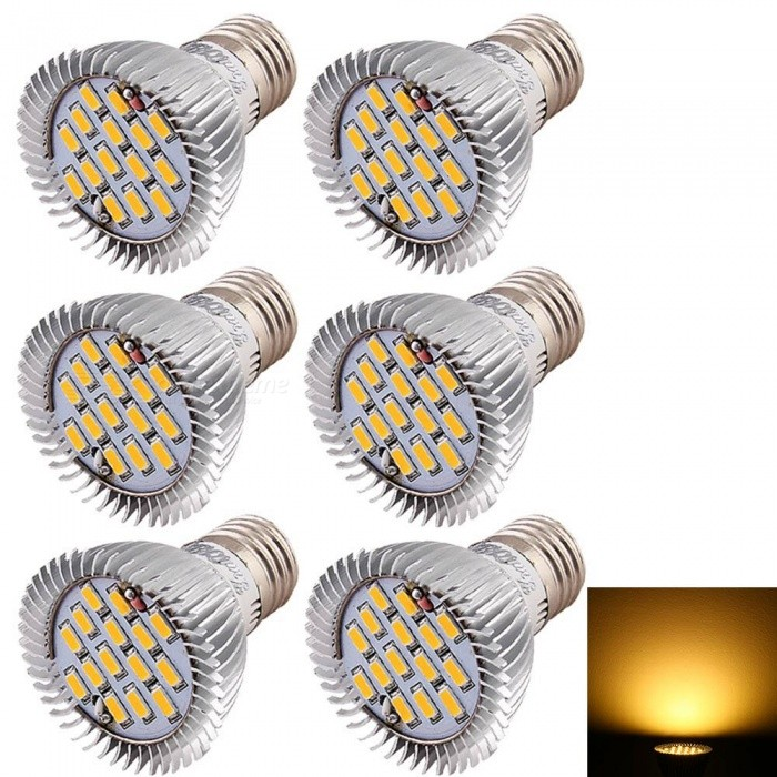 YouOKLight E27 7.5W Warm White LED Light Bulbs (AC 85-265V, 6 PCS)E27<br>Color BINWarm WhiteModelYK4208-WWMaterialAluminum + PlasticForm  ColorSilverQuantity6 DX.PCM.Model.AttributeModel.UnitPowerOthers,7.5WRated VoltageAC 85-265 DX.PCM.Model.AttributeModel.UnitConnector TypeE27Emitter TypeOthers,5630 SMD LEDTotal Emitters15Actual Lumens600 DX.PCM.Model.AttributeModel.UnitColor Temperature3000KDimmableNoBeam Angle120 DX.PCM.Model.AttributeModel.UnitPacking List6 x LED Bulbs<br>