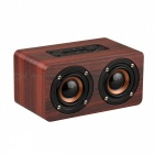 Wooden Wireless Bluetooth Speaker Portable HiFi Shock Bass - Red