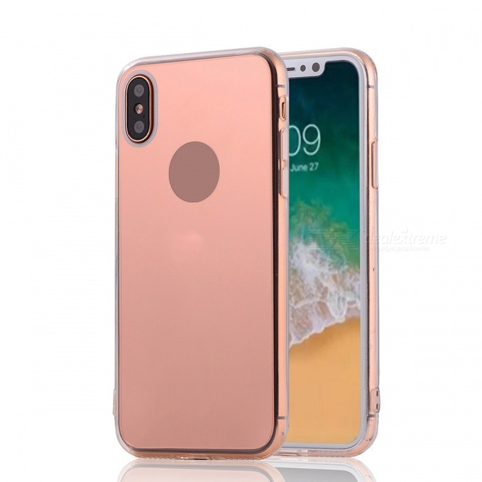 Mini Smile Protective TPU PC Mirror Back Case for IPHONE X - Rose GoldTPU Cases<br>Form  ColorRose GoldModelI8-MQuantity1 pieceMaterialOthers,TPU + PCCompatible ModelsOthers,IPHONE XDesignSolid Color,Transparent,Others,MirrorStyleBack CasesPacking List1 x Back case<br>