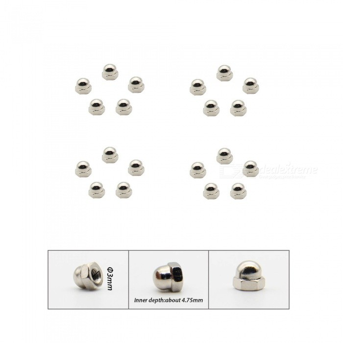 Geekworm 20Pcs M3 Cap Nickel Plating Iron Nuts Kit for DIY Project