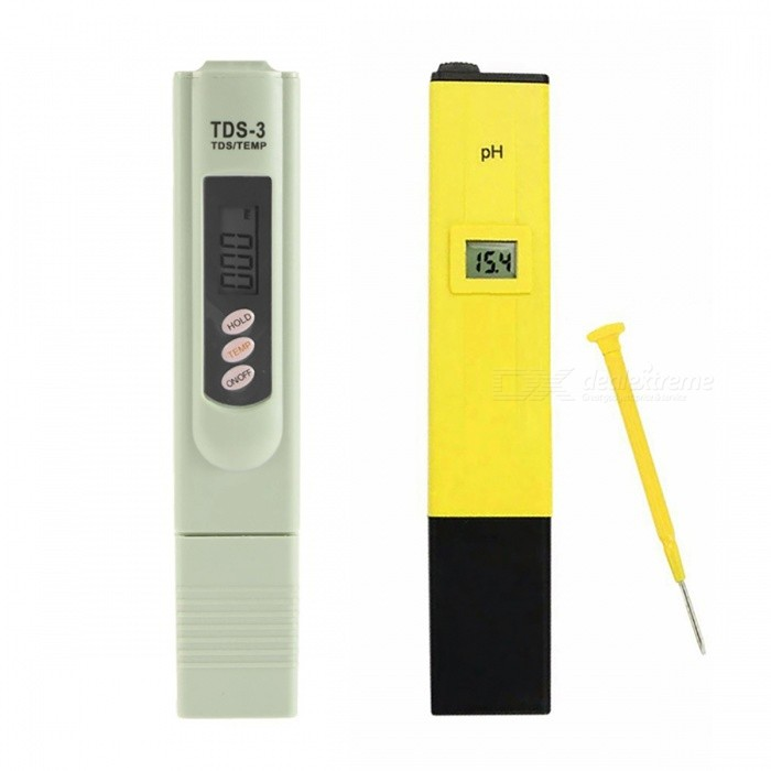 Digital PH Meter with Automatic TDS TesterTesters &amp; Detectors<br>Form  ColorYellow + GreyModelN/AQuantity1 pieceMaterialPlasticPacking List1 x PH meter (include batteries) 1 x Calibration Screwdriver 1 x PH Meter English Manual 1 x TDS Meter 1 x TDS Meter English Manual<br>