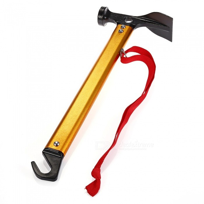 Aluminum Alloy Camping Tent Hammer with Hook - GoldenTent Accessories<br>Form  ColorGoldenQuantity1 pieceMaterialAluminum AlloyBest UseFamily &amp; car camping,Mountaineering,TravelTypeOthersPacking List1 x Hammer<br>