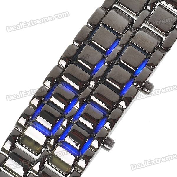 Stylish 8-LED Blue Light Digit Stainless Steel Bracelet Wrist Watch - Black (1*CR2016)