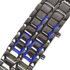 8-LED Blue Light Digital Stainless Steel Bracelet Watch - Black