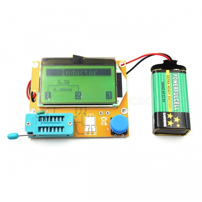 LCR-T4 Digital Transistor Tester Diode Triode Capacitance ESR MeterMultimeters<br>Form  ColorYellow + BlueModel-Quantity1 DX.PCM.Model.AttributeModel.UnitMaterialPCBBattery included or notNoPacking List1 x Meter Tester<br>