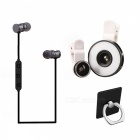 Meiigoo bluetooth earphone with lens, selfie flash light, ring bracket